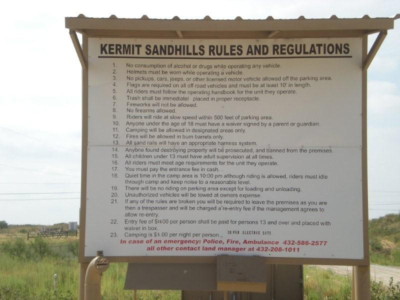 Kermit Sand Dunes - Rules and Regulations