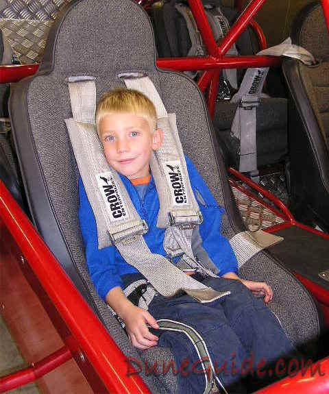 Sand rail - Small child in an adult seat with adult belts