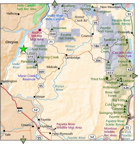 Steck Park Vicinity Map - Weiser Sand Dunes